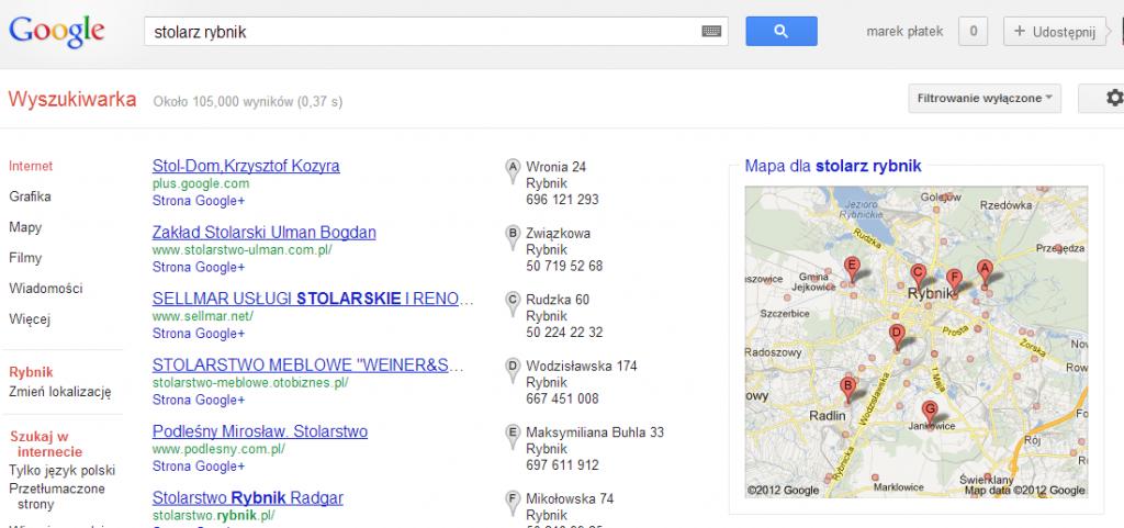 Google Plus i Google Lokalnie w wynikach lokalnych