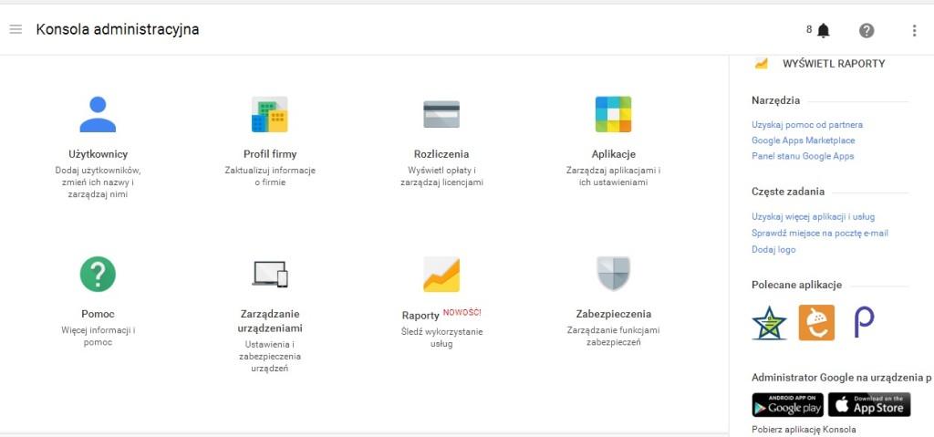 Konsola administracyjna Google Apps